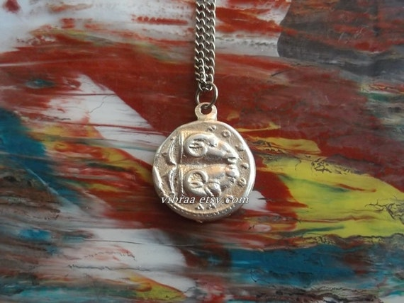 delphic oracle coin reversible necklace pendant silver
