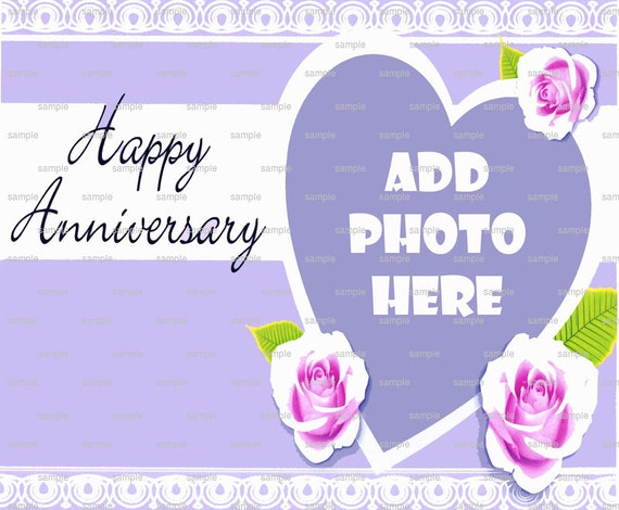 Happy Anniversary - Edible Cake and Cupcake Photo Frame For Birthday's and Parties! - D4450