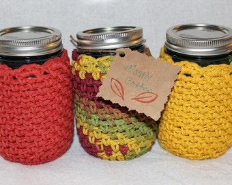 Crocheted Mason Jar Cozies Crocheted Cozy Coffee Cozy