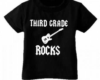 Third Grade Rocks cool guitar kids youth shirt black pink white blue size and color choice great for school