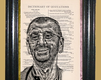 Ringo Starr Art - Vintage Dictionary Page Art Print Upcycled Book Page Art Collage Art Print