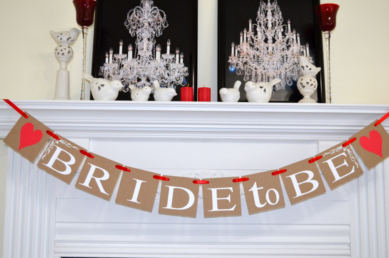 Bride To Be Banner Red Bridal Shower Garland Decor Rustic