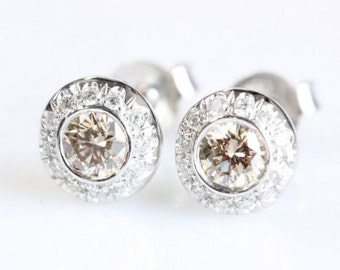 0.60 carat Gold Diamond Earrings , 14K White Gold Earrings, Bridal Jewelry, Women Jewelry, Stud Earrings