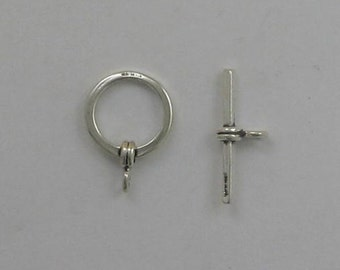925 Sterling Silver Round Toggle Clasp - 05