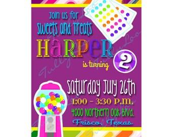 Candy Birthday Invitation - Candy party invitation - Custom party invitations - Sweets and Treats Invite - Digital Birthday Invitation Set