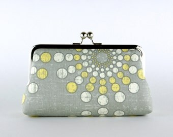 Bridesmaid Clutch, Sunny Day Clutch, Silk Lining, Bridesmaid Gift, Wedding clutch, Grey and Yellow collection