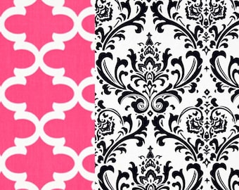 NEW College Dorm Twin / XL Bedding Reversible  Duvet Hot pink Fynn and Navy Damask