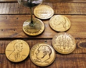 BAMBOO Coasters - Coin Collection Series- CHIC !!!