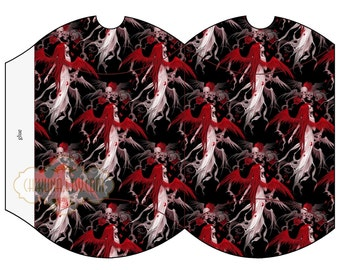 RED  ANGEL -  Printable Pillow Box - Digital Image Sheet Download Box - Print and Cut