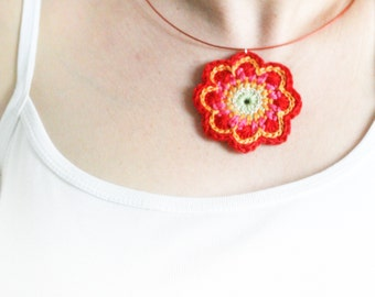 Crochet necklace. Flower jewelry. 6 colour options. 'Maisy'