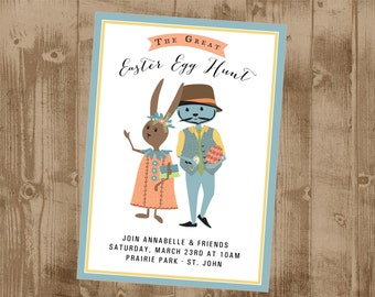 The Great Easter Egg Hunt - Vintage bunny - printable invitation