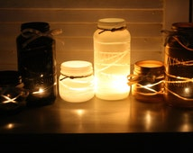 Stunning Mason Jar Table Lanterns (Pair) For Wedding Decor Table Centerpiece Candle Holders Lights Country Shabby Chic Rustic