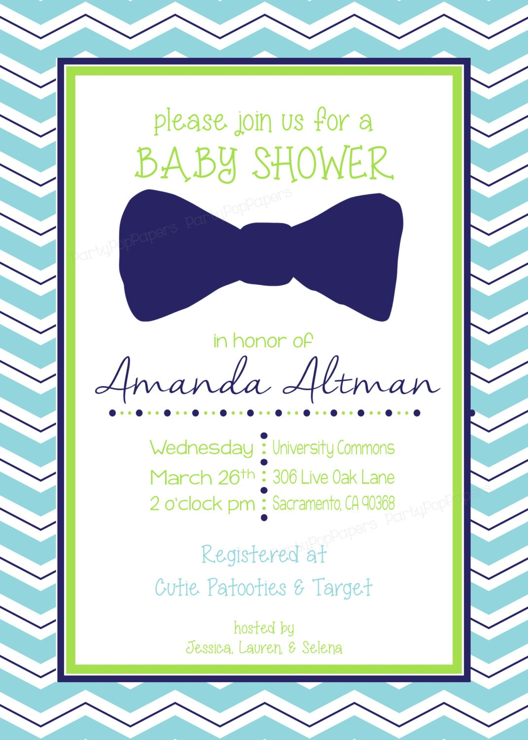 custom printable chevron bow tie baby shower invitation