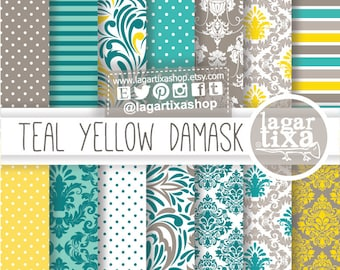 Teal Yellow and Gray Grey Damask Digital Paper Patterns for invitations scrapbook blog backgrounds labels toppers candybar