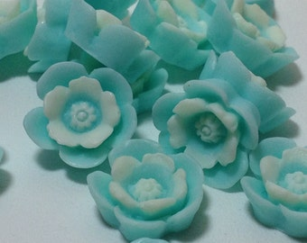 10 Light Blue Color Flower Cabochons - Flat Back (Scrapbooking & Crafts)