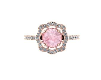 Diamond Flower Engagement Ring Morganite Engagement Ring 14K Rose Gold with 6.5mm Morganite Center Flower Gemstone Ring Gifts  - V1078