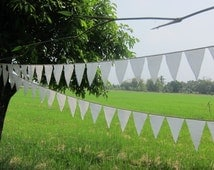 white bunting Banner - white garland - white banner - muslin cotton bunting -  cotton prayer flags - long white bunting - outdoors bunting