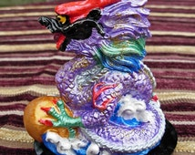Handmade FENG SHUI Ceramic Dragon Hand Painted PURPLE small gemstone cabochon in mouth, 10cm x 8cm and available in 9 Colours of the Bagua