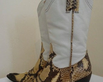 Snakeskin Cowboy Boots - Made In Italy By Greymer - UK Size 4 - Nice Condition