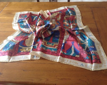 Vintage Hand Printed Pure Silk Scarf from The National Trust Of Scotland. Circa 1995