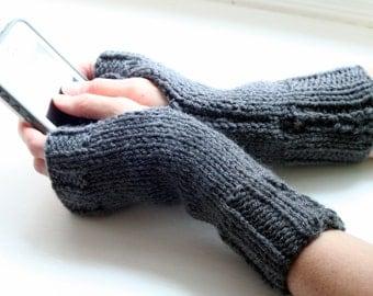 Fingerless Gloves, Grey Gloves, Knit Gloves, Fingerless Mittens, Wrist Warmers, Arm Warmers, Cozy Gloves, Warm Gloves, Hand Knitted Gloves