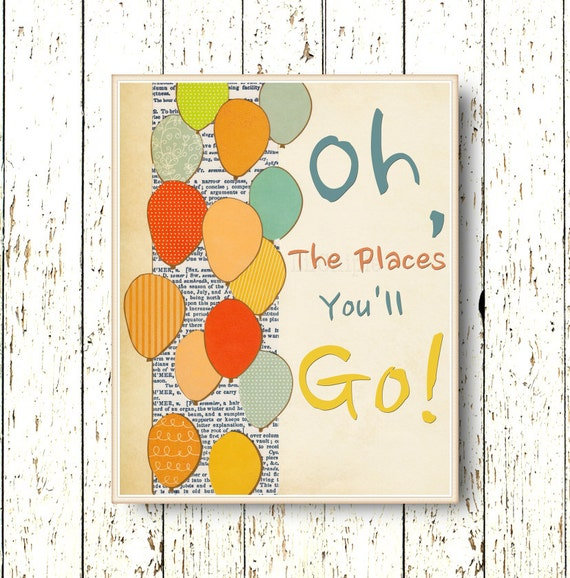 Oh The Places You Ll Go Dr Seuss Kids Wall Art Print