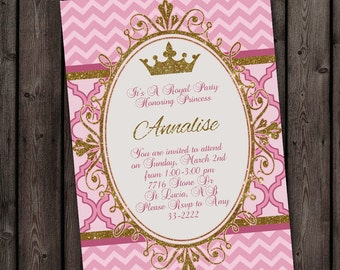 FAST Princess invitation, customized wording, ships fast, gold and pink, chevron and quatrefoil, royal crown invitation, modern