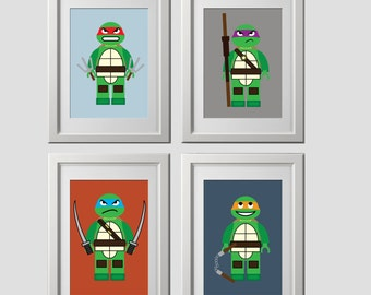 Teenage Mutant Ninja Turtles wall art prints, PRINTED set of 4, 8x10  inch each, shipped to your door, color customized backgrounds