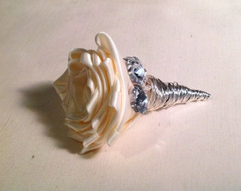 Ivory Satin Rose and Crystal Accented Boutonniere oR Lapel Flower