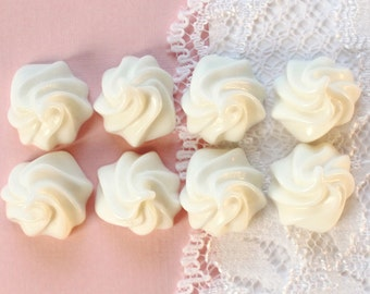 8 Pcs White Whipped Cream Dollop Cabochon - 18x14mm
