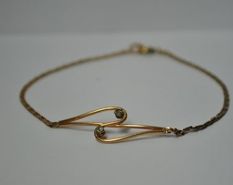 Signed Krementz Gold Overlay Childs Bracelet.