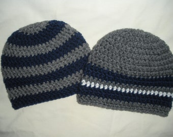 Baby gifts for twins, crochet twin hats, twin baby gift, gray navy blue stripe, boy twin hats, newborn photo prop, baby shower gift, babies