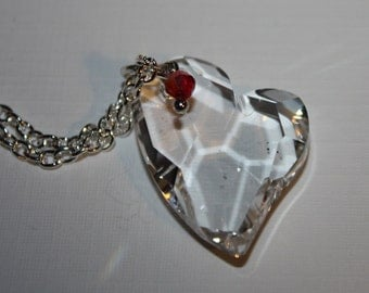 Sterling Silver Necklace with Swarovski Heart Crystal Pendant