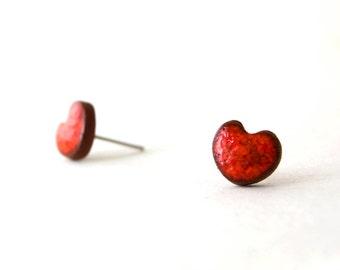 Red Heart Earrings, Silver 925, Heart Earrings, Heart Stud Earring, Stud Earrings, Heart, Ceramic Earrings, Ceramic Jewelry, Natural Jewelry