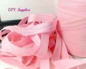 Pink 5/8 fold over elastic, Wholesale elastic, headband supplies, foe, diy hair ties, elastic by the yard, fold over elastic,