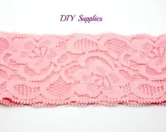 Pink lace headband - baby headbands - lace headbands - stretch headbands- infant headbands - wholesale headbands