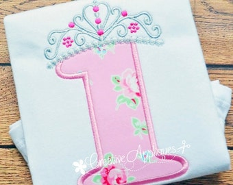 Princess Crown Birthday  Number 1 Machine Embroidery Applique Design 4 Sizes, first birthday applique, 1st birthday applique, 1 crown