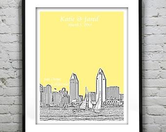 San Diego Wedding Guest Book Poster Print -City Skyline California CA