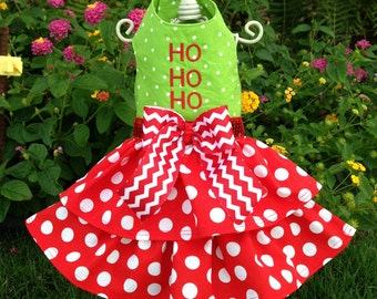 Custom Made Dog Pet Clothing Dress -  Christmas Dog Dress – Ho Ho Ho Christmas Dress