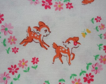 "Fat Quarter of Atsuko Matsuyama Lecien Old New 30's Bambi Fabric on Off White Background. Approx. 22""x 18"" Made in Japan."