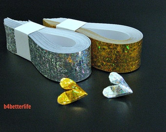 "200 Strips of Gold & Silver Colors DIY Paper Kit For 3D Origami Hearts ""LOVE"". (4D Glittering Paper Series). #HPK-1."