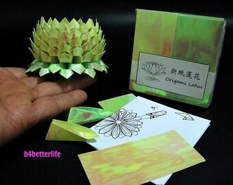 Pack Of 200 sheets Yellow Color DIY Origami Lotus Paper Folding Kit for Making 2pcs of Medium Size Lotus. (AV Paper Series).