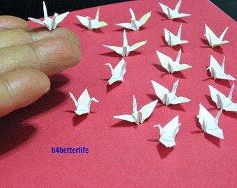 """100pcs 1"""" White Color 1-inch Origami Cranes Hand-folded From 1""""x1"""" Square Paper. (TX paper series). #FC1-33."""