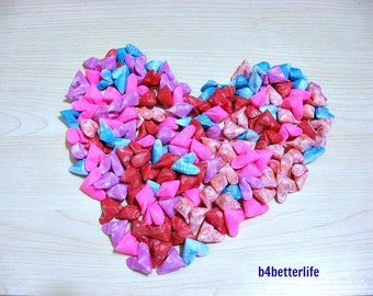 "150pcs Assorted Colors 3D Origami Hearts ""LOVE"" Hand-folded From Non Woven Felt Fabric Paper."