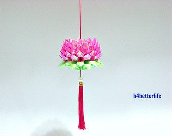 A Piece of Medium Size Violet Red Color Origami Hanging Lotus. (AV paper series).