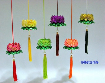 Lot of 6pcs Mini Size Origami Hanging Lotus. (RS & Foil paper series). #FLT-150.