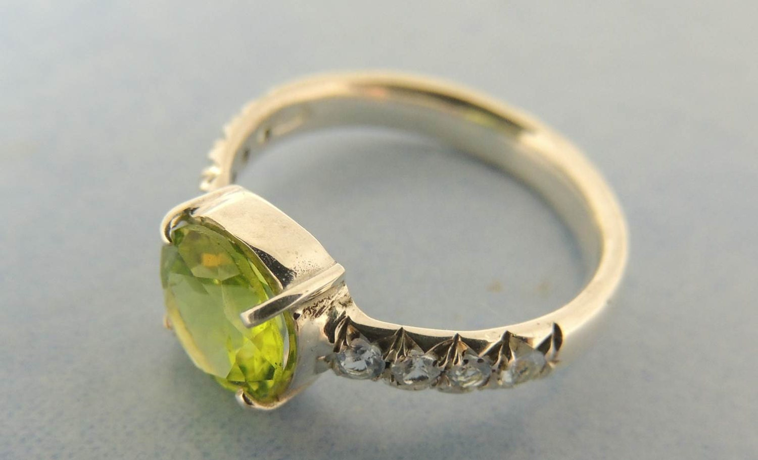peridot engagement ring with aquamarines solitaire by. Black Bedroom Furniture Sets. Home Design Ideas