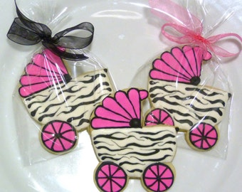 Custom Decorated Gourmet Baby Carriage Sugar Cookie Favors Zebra Print Carriage for Girl Baby Shower Cookie Gender Reveal Cookie Shower Gift
