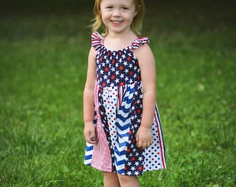 Patriotic Printed Ruffle Dress - Red, White & Blue - All American - Stars and Stripes - 4th of July - Celebration - Party - Summer - Girls