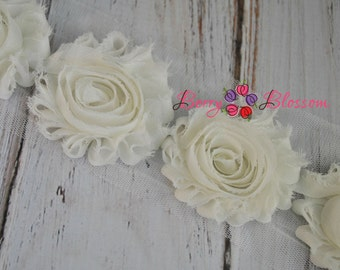 "2.5"" Ivory shabby flower trim -  frayed chiffon - rose flowers by the yard - JT Ivory"
